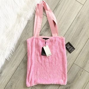 Retrofete Pink Sequin Slouchy Tote Hobo Bag